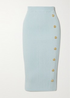 Balmain Button-embellished Ribbed Stretch-knit Midi Skirt