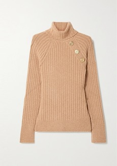 Balmain Button-embellished Ribbed Wool-blend Bouclé Turtleneck Sweater