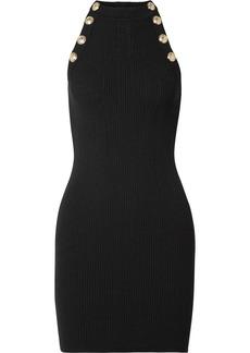 Balmain Button-embellished Ribbed Wool-blend Mini Dress