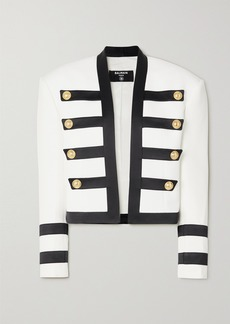 Balmain Button-embellished Satin-trimmed Crepe Blazer