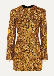 Balmain Button-embellished Sequined Crepe Mini Dress