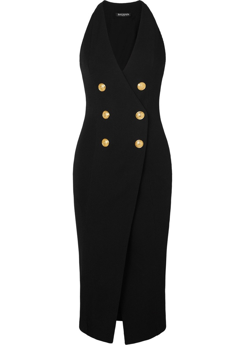 Balmain Button-embellished Stretch-knit Midi Dress