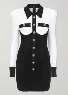 Balmain Button-embellished Two-tone Stretch-knit Mini Dress