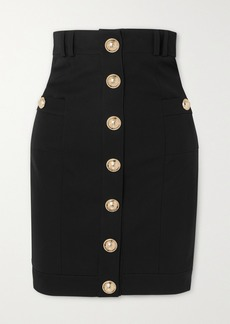 Balmain Button-embellished Wool-twill Skirt