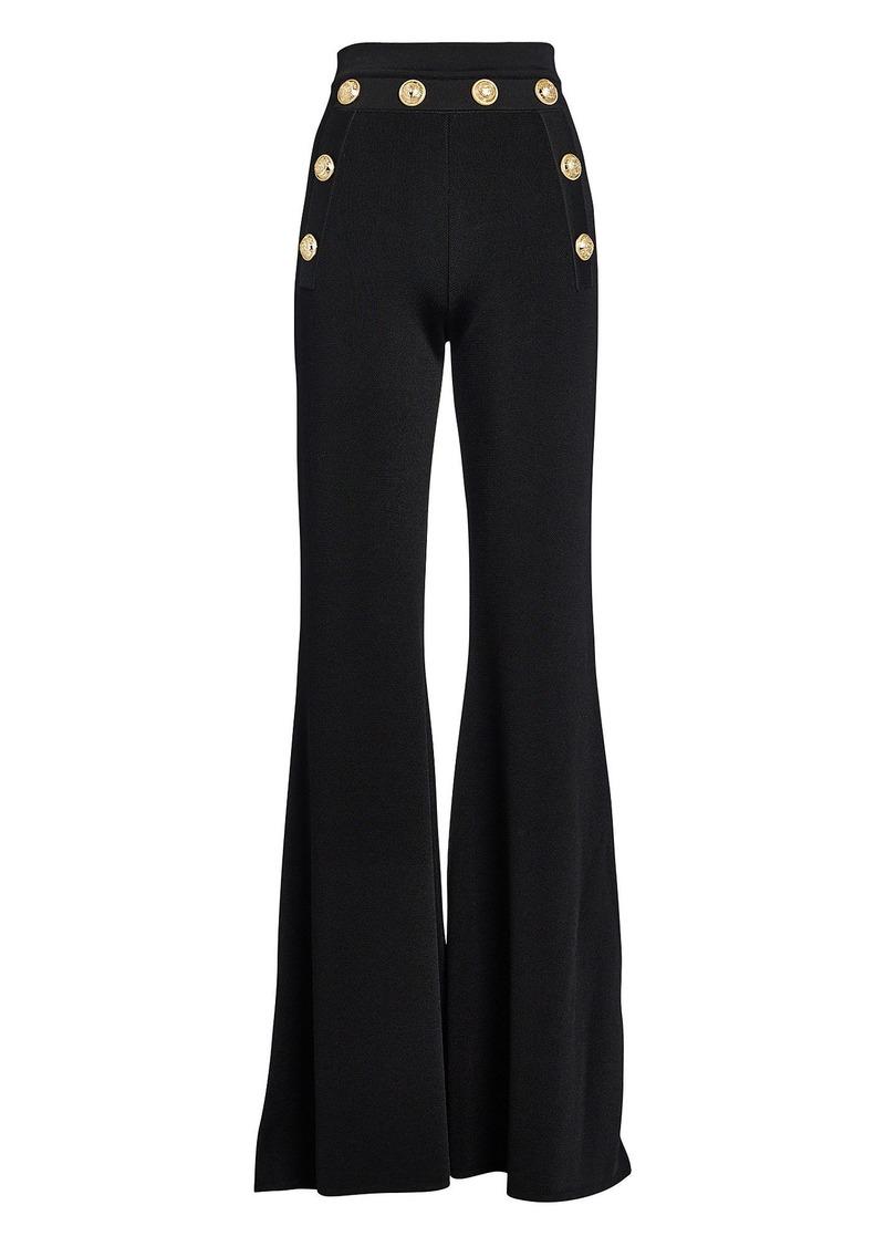 Balmain Button-Embossed Flared Pants