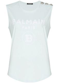 Balmain button-shoulder logo vest