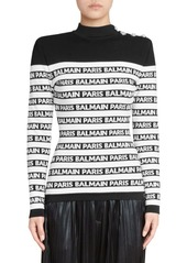 Balmain Button Shoulder Striped Sweater