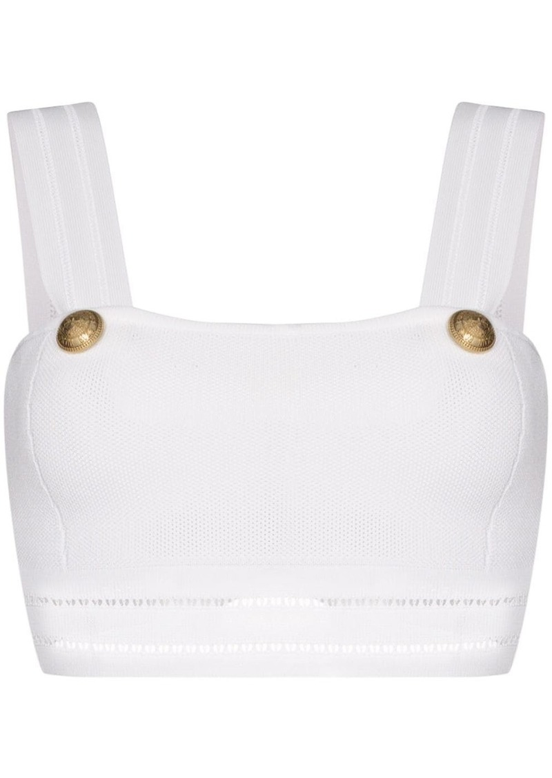 Balmain button-detailed pointelle-knit bralet top