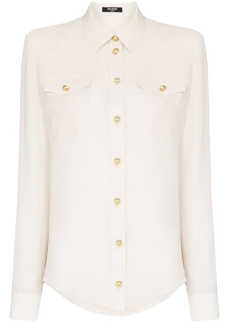 Balmain button-up long-sleeve blouse