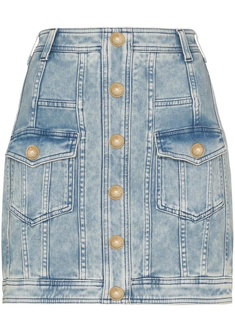 Balmain buttoned denim mini skirt
