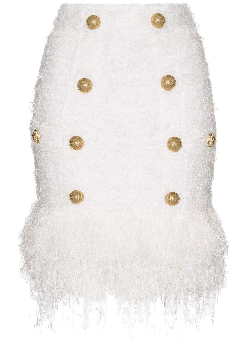 Balmain buttoned fringed tweed skirt