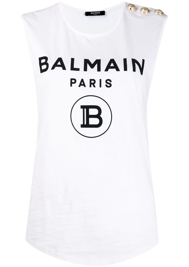 buttoned logo print sleeveless top