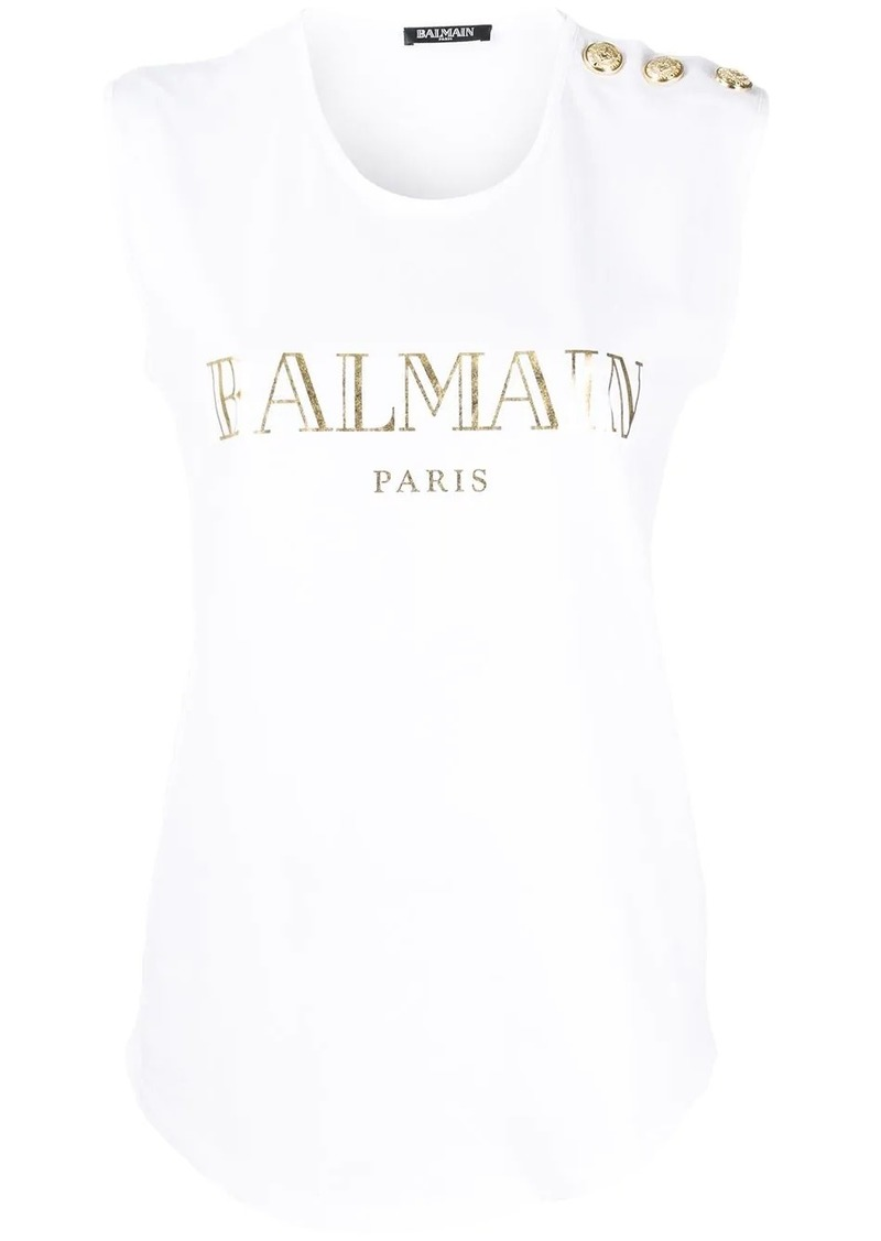 Balmain buttoned shoulders sleeveless logo top