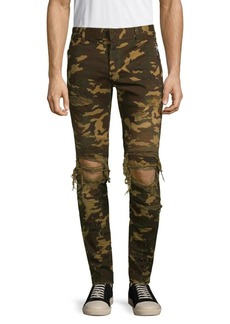 Balmain Camouflage Distressed Skinny Jeans