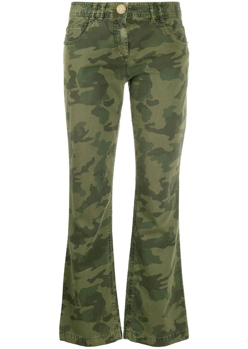 Balmain camouflage-print cropped trousers