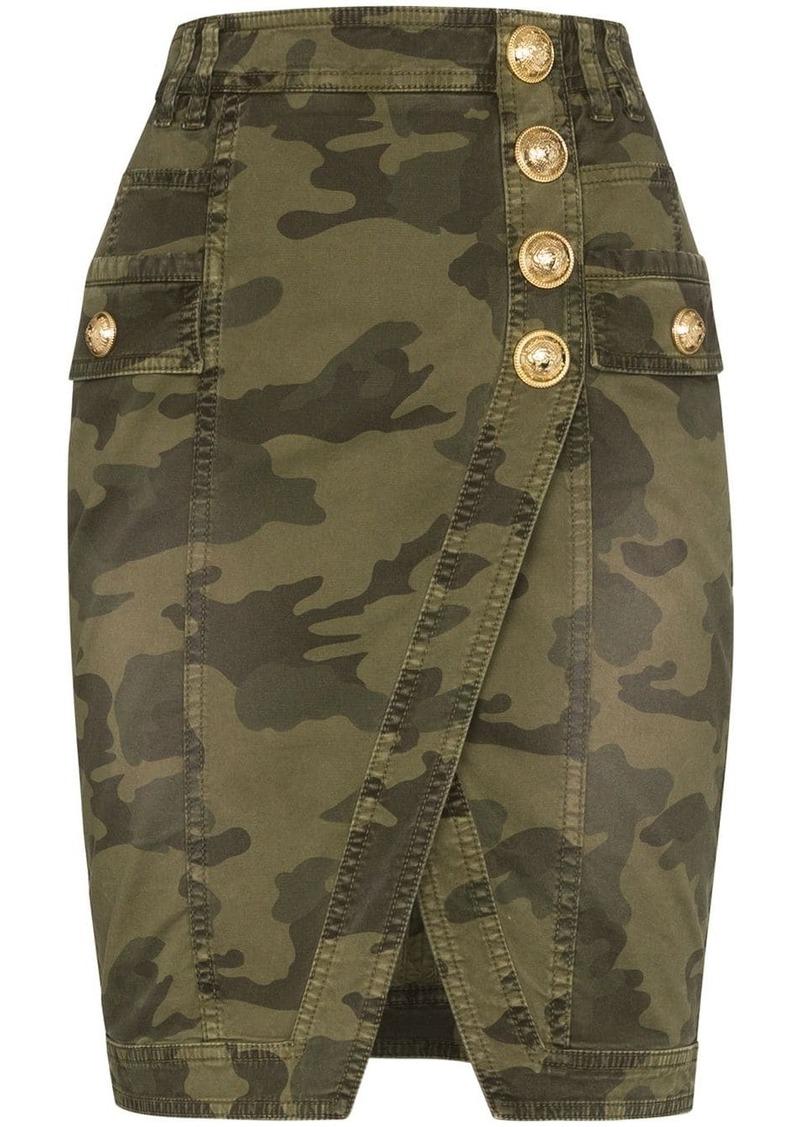 Balmain camouflage wrap denim mini skirt