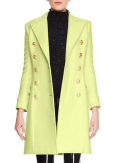 Balmain Cashmere-Wool Ten-Button Knee-Length Coat