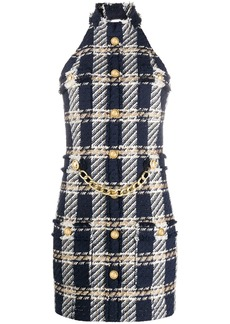 Balmain chain-detail tweed dress