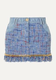Balmain Chain-embellished Cotton-tweed And Denim Mini Skirt