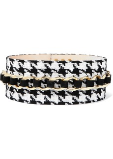 Balmain Chain-embellished Houndstooth Tweed And Suede Waist Belt
