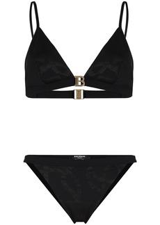 Balmain chain print triangle bikini