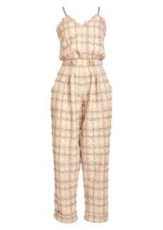 Balmain Chain-Strap Tweed Jumpsuit
