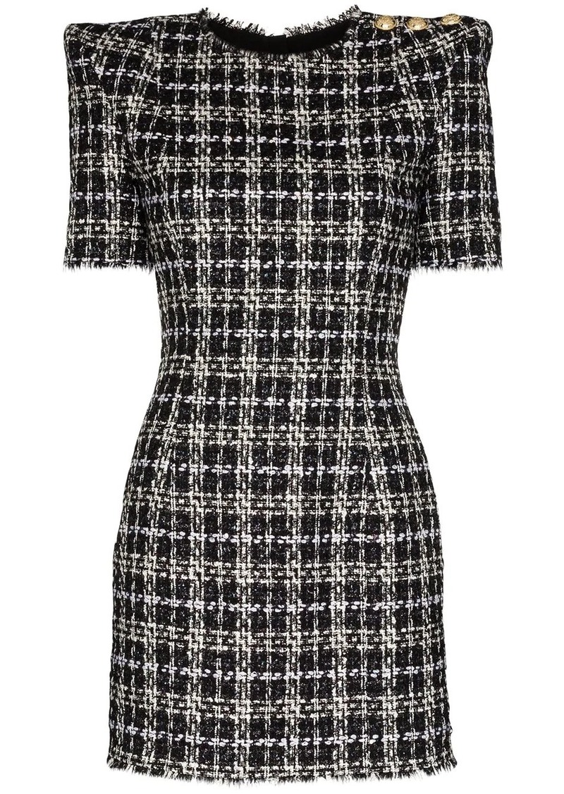 Balmain check tweed mini dress