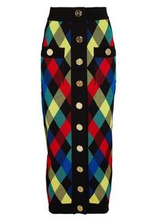 Balmain Checked Knit Jacquard Midi Skirt
