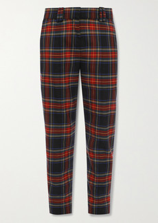 Balmain Checked Wool-blend Slim-leg Pants