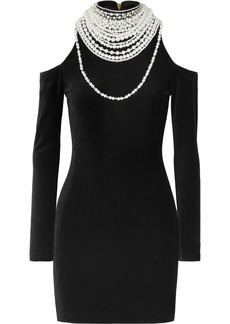 Balmain Cold-shoulder Pearl And Crystal-embellished Stretch-velvet Mini Dress