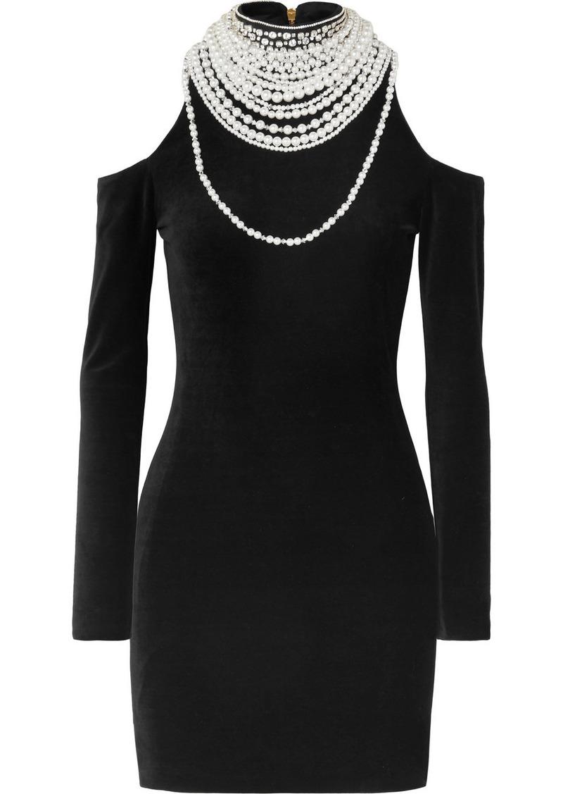 Balmain Cold-shoulder Pearl And Crystal-embellished Stretch-velvet Mini Dress