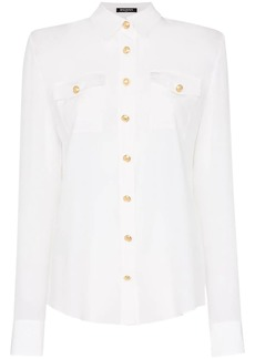 Balmain collared gold-tone button silk shirt