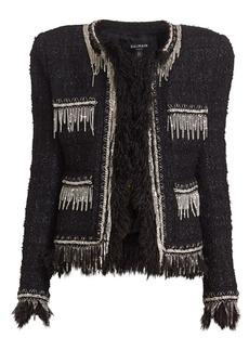 Balmain Collarless Feather-Trimmed Tweed Jacket