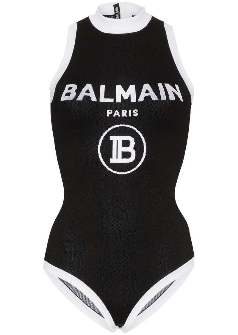 Balmain contrast logo knit bodysuit
