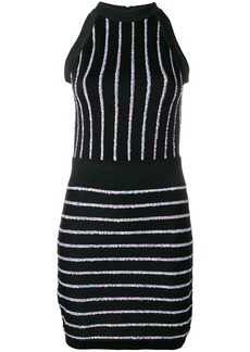 Balmain contrasting embroidered stripes dress