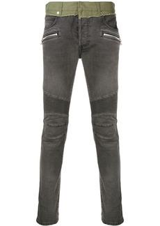 Balmain contrasting panels biker jeans