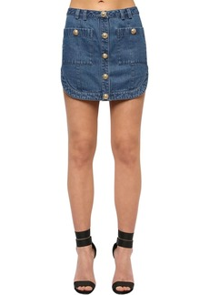 Balmain Cotton Denim Mini Skirt