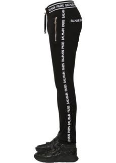 Balmain Cotton Jersey Sweatpants W/ Logo Bands