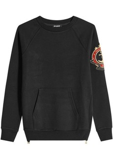 Balmain Cotton Sweatshirt with Embroidered Patch and Zipped Sides