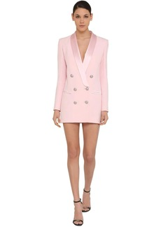 Balmain Crepe & Satin Mini Jacket Dress