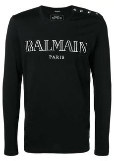 Balmain embroidered logo top