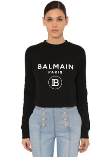 Balmain Crop Printed Cotton Jersey Sweatshirt