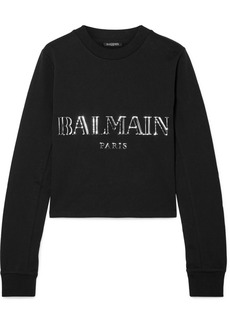 Balmain Cropped Appliquéd Cotton-jersey Sweatshirt