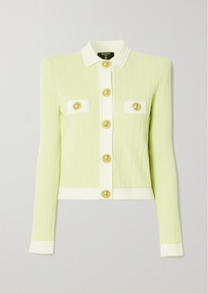 Balmain Cropped Button-embellished Jacquard-knit Blazer