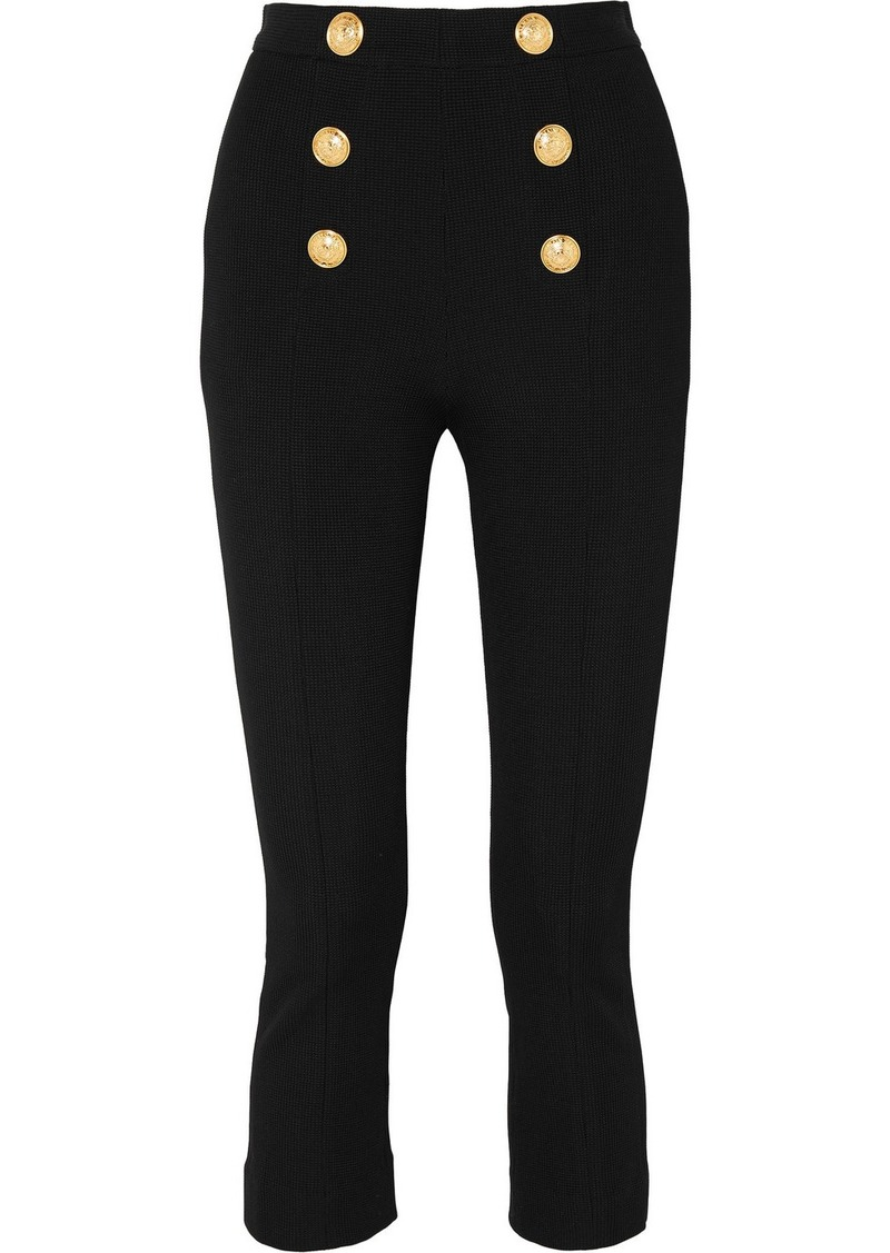 Balmain Cropped Button-embellished Textured-knit Bootcut Pants
