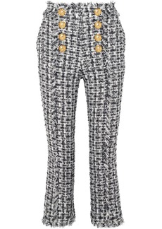 Balmain Cropped Button-embellished Tweed Bootcut Pants