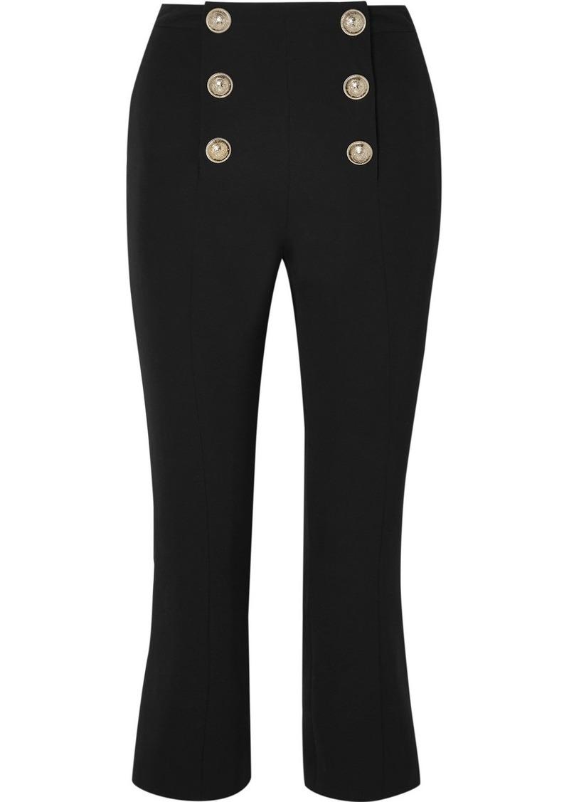 Balmain Cropped Button-embellished Wool-twill Bootcut Pants