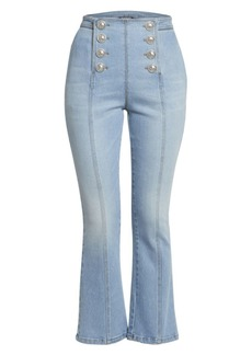 Balmain Cropped Button-Front Flared Jeans