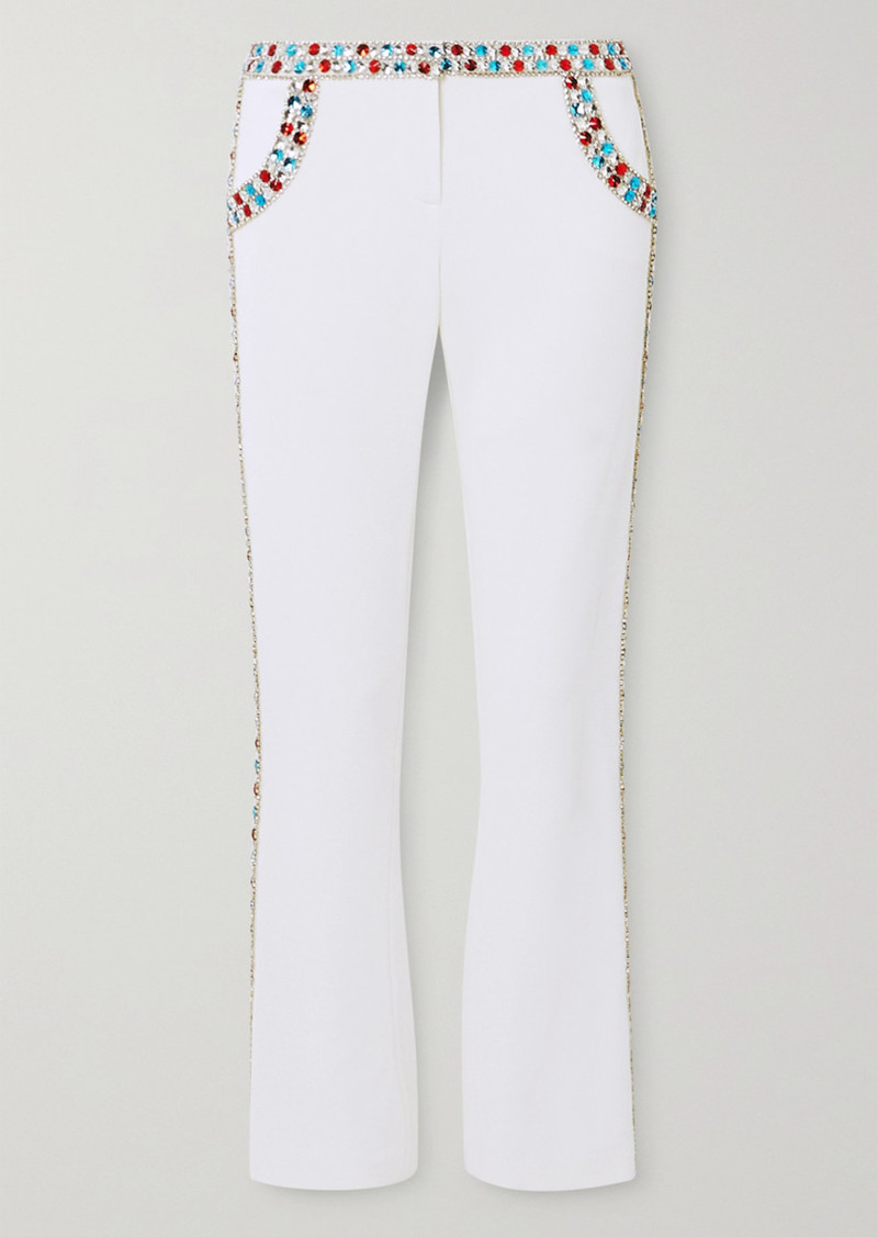 Balmain Cropped Crystal-embellished Stretch-crepe Flared Pants