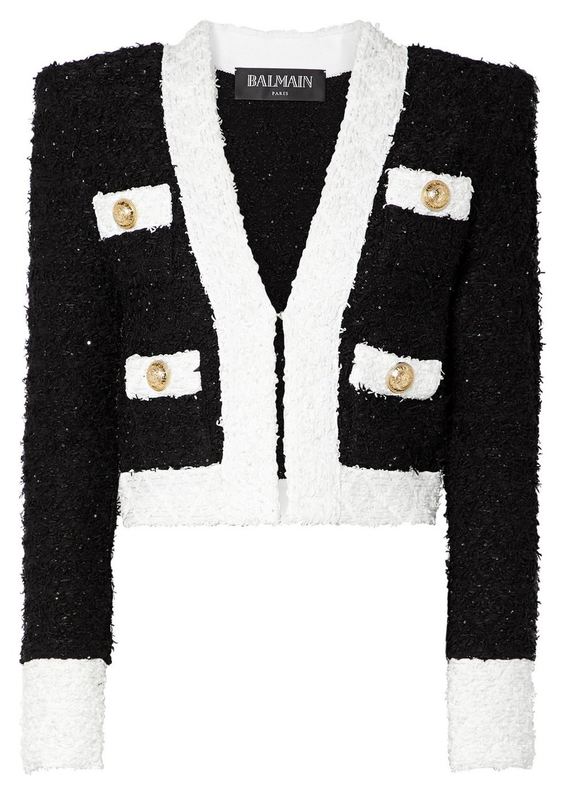 Balmain Cropped Embellished Tweed Blazer